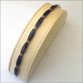 Long Bead Chilean Bracelet with Lapis